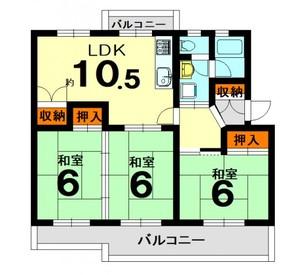 保津川第二住宅2号棟の間取り図