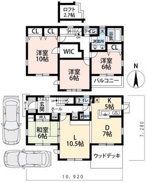 亀岡市東つつじケ丘曙台4丁目売家の間取り図