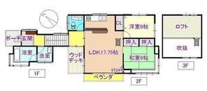 福島県『白河ニュータウン』きれいな別荘の間取り図