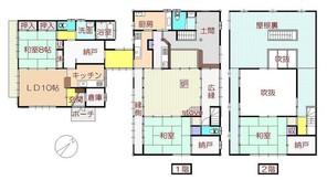 福島県西郷村 古民家風店舗+居宅棟の間取り図
