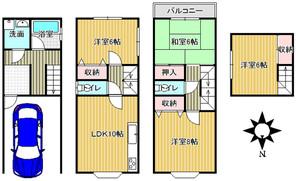 大阪府大阪市生野区巽北3丁目の間取り図