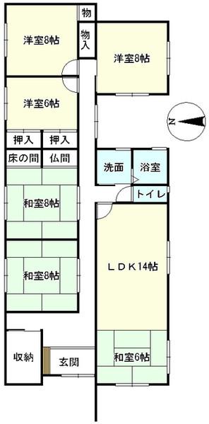 滋賀県米原市村木の間取り図