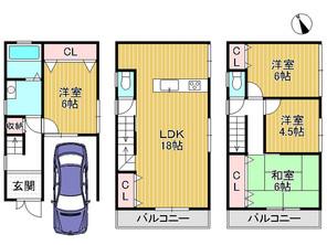大阪府摂津市庄屋1丁目の間取り図