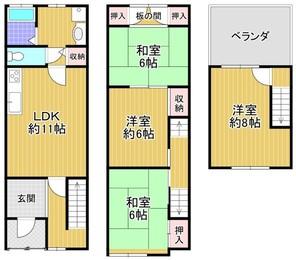 大阪市西区九条南2丁目(中古戸建)の間取り図