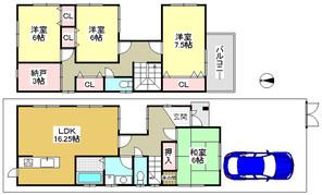 兵庫県神戸市北区山田町下谷上字芝床の間取り図