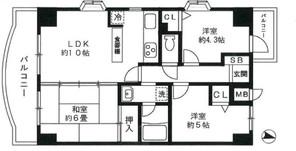 バームハイツ福生弐番館の間取り図