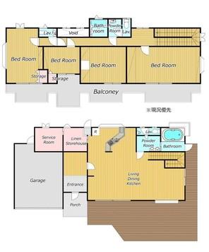 リゾートエリア箱根町の温泉付き物件の間取り図