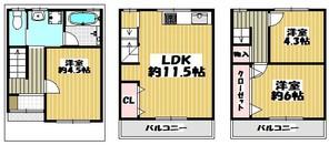 鶴見区横堤5丁目中古戸建の間取り図