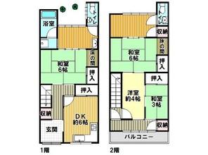 西成区天下茶屋1丁目テラスハウスの間取り図