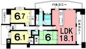D'クラディア西田エステージタワーの間取り図