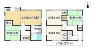 大阪府八尾市西山本町2丁目の間取り図