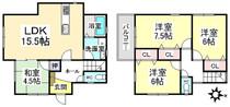 奈良県生駒市山崎町の間取り図