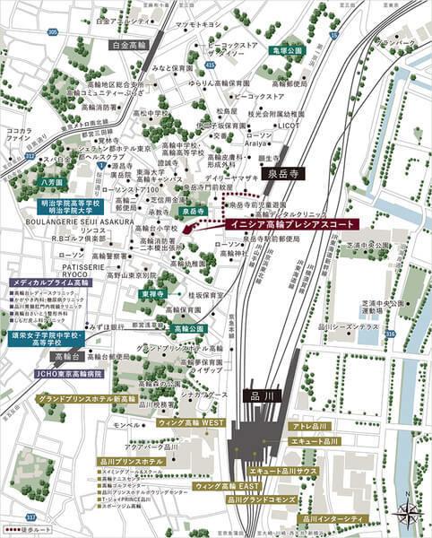 イニシア高輪プレシアスコートの現地・周辺案内図