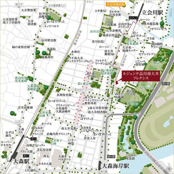 ルジェンテ品川南大井フレクシスの現地・周辺案内図