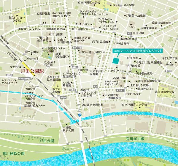 (仮称)レーベン戸田公園プロジェクトの現地・周辺案内図