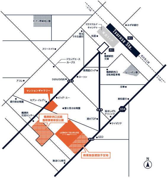 レーベン鶴瀬Grandrexの現地・周辺案内図