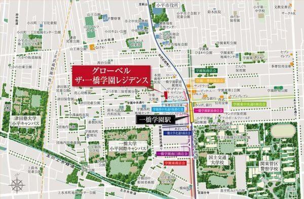 グローベル ザ・一橋学園レジデンスの現地・周辺案内図