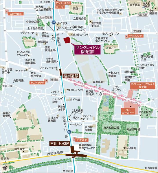 サンクレイドル桜街道IIの現地・周辺案内図