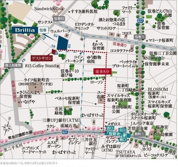 Brillia 弦巻の現地・周辺案内図