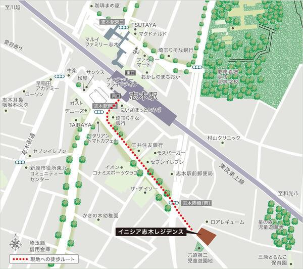 イニシア志木レジデンスの現地・周辺案内図