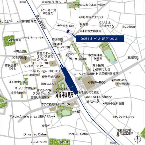 (仮称)ネベル浦和本太の現地・周辺案内図