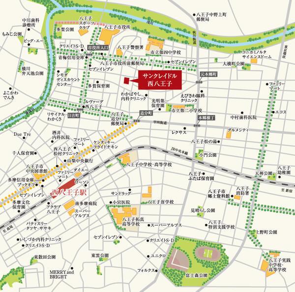 サンクレイドル西八王子の現地・周辺案内図