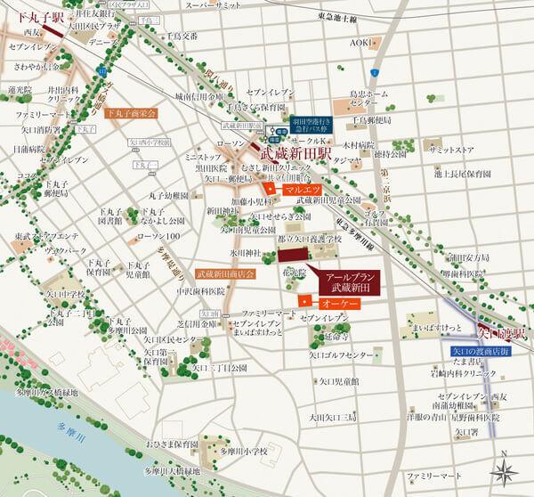 アールブラン武蔵新田の現地・周辺案内図
