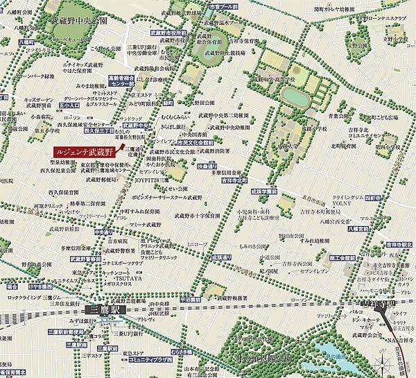 ルジェンテ武蔵野の現地・周辺案内図