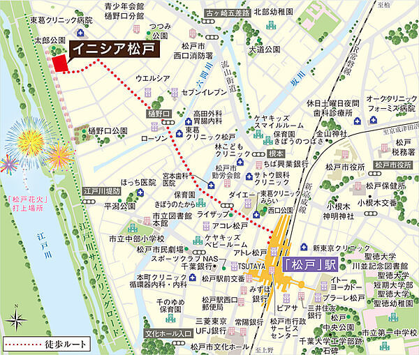 イニシア松戸の現地・周辺案内図