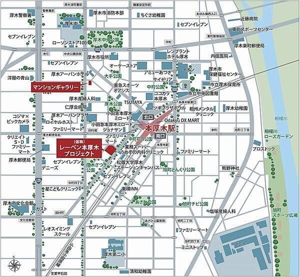 (仮称)レーベン本厚木プロジェクトの現地・周辺案内図