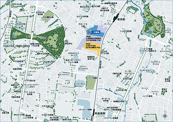 (仮称)F.F.LAND PROJECTの現地・周辺案内図
