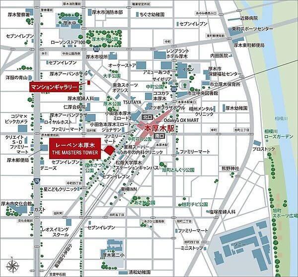 レーベン本厚木 THE MASTERS TOWERの現地・周辺案内図