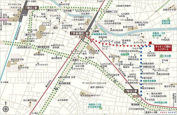 ライオンズ蒲田レジデンスの現地・周辺案内図