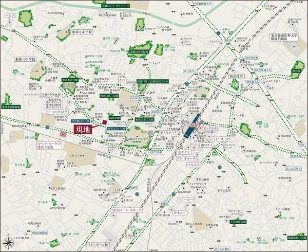 デュオヒルズ柏の現地・周辺案内図