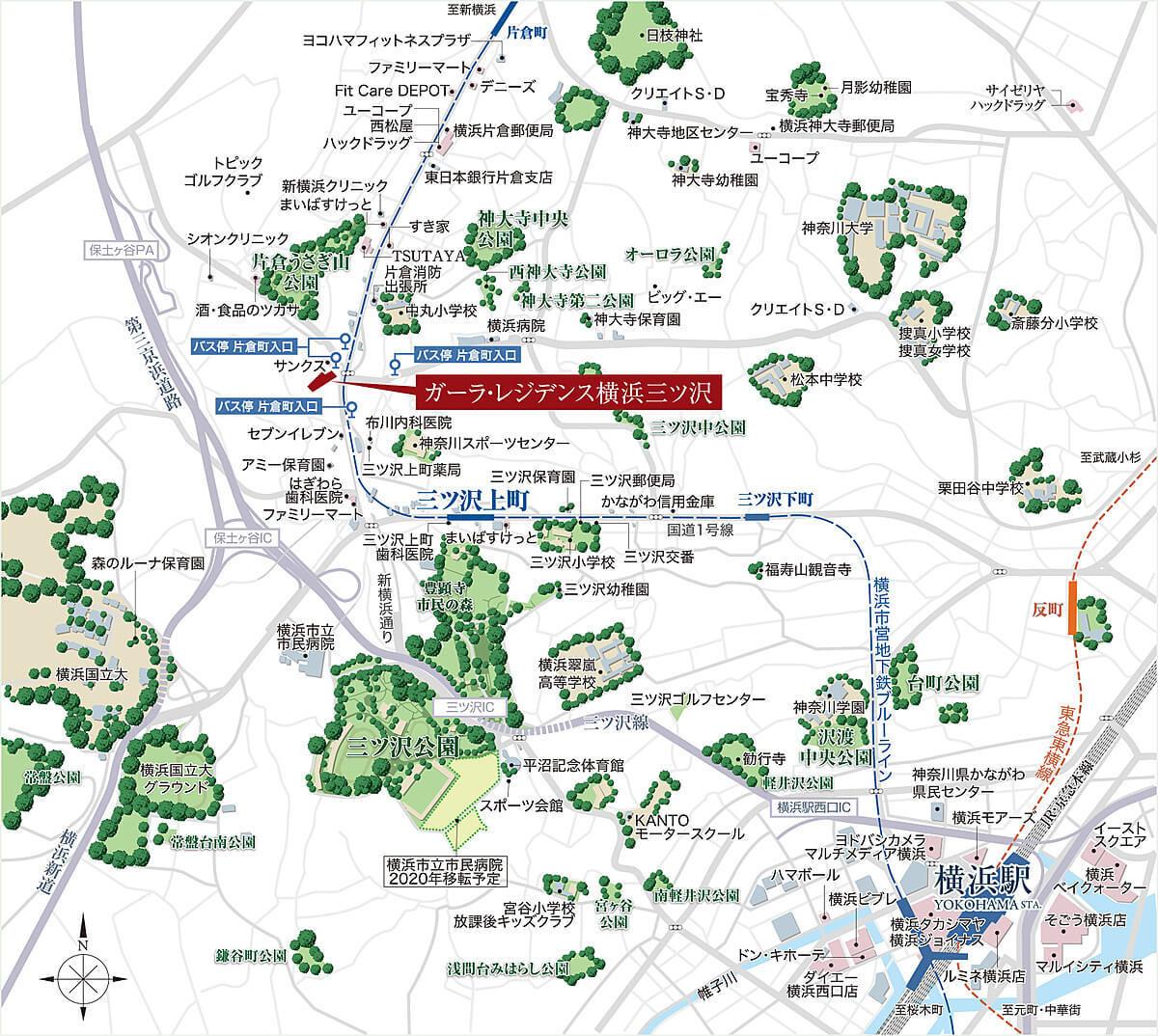 ガーラ・レジデンス横浜三ツ沢の現地・周辺案内図