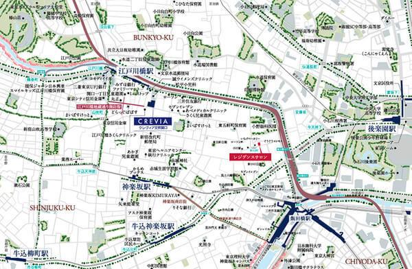 クレヴィア文京関口の現地・周辺案内図