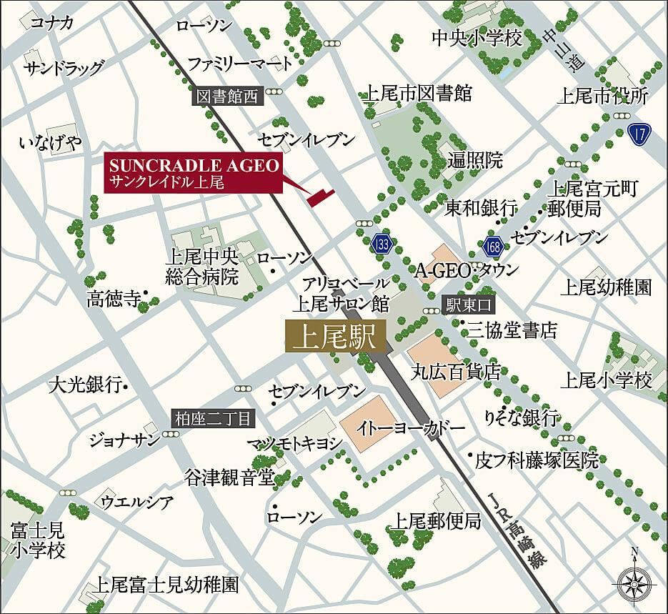 サンクレイドル上尾の現地・周辺案内図