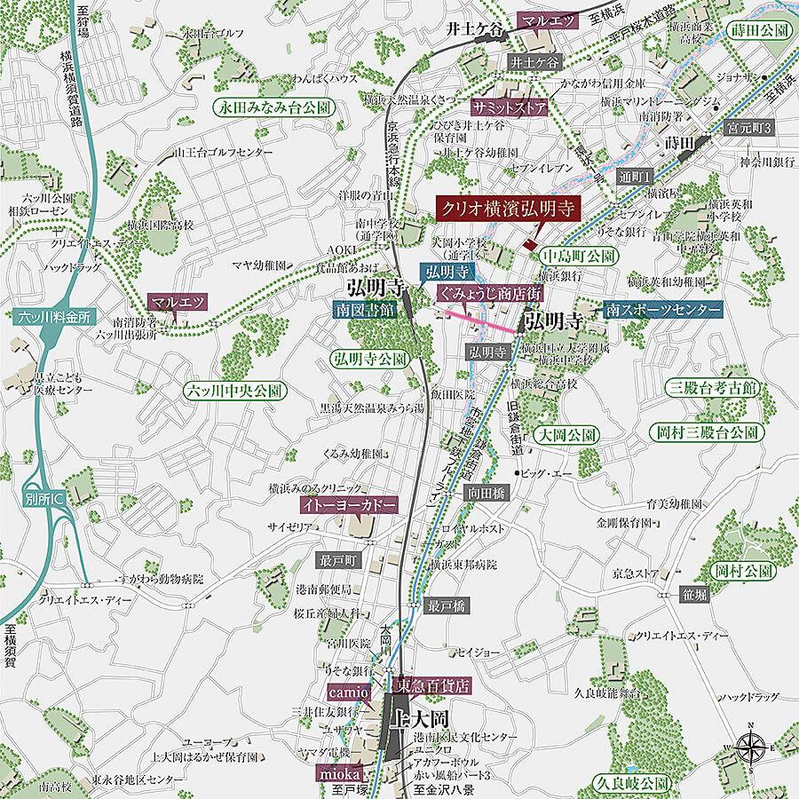 クリオ横濱弘明寺の現地・周辺案内図