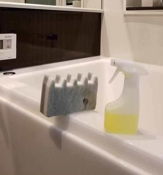 浴槽に置かれた洗剤とスポンジ