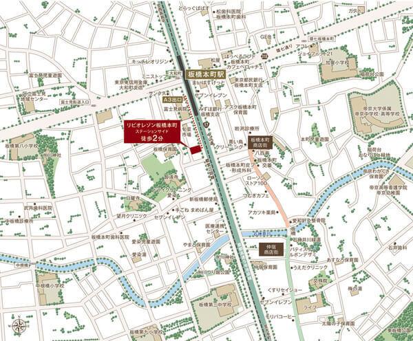 リビオレゾン板橋本町ステーションサイドの現地・周辺案内図