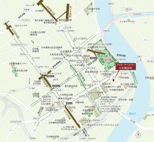 クリオ ラベルヴィ日本橋浜町の現地・周辺案内図