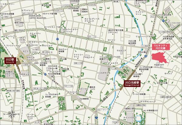 リビオシティ川口元郷の現地・周辺案内図