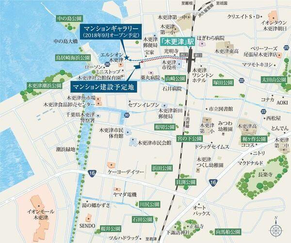 デュオヒルズ木更津の現地・周辺案内図