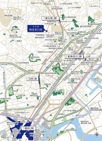 クリオ横濱東白楽の現地・周辺案内図