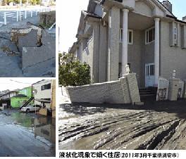 沈む家屋、突き出るマンホール...。 地盤改良工法による最新の液状化対策。