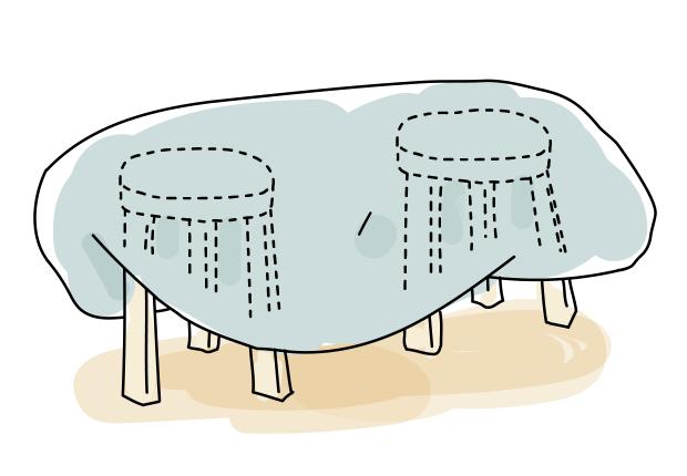椅子を並べて、布団をかける